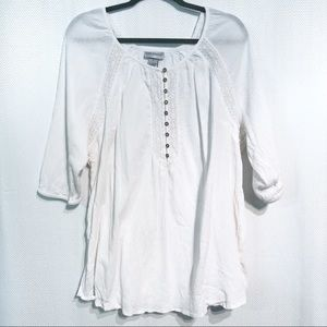 Catherines Cotton Peasant Tunic with Lace Size 1X